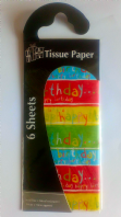 """Happy birthday"" tissue paper pack (Code 2882)"